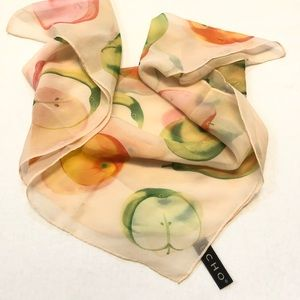 Echo 100% silk square scarf fruit pattern